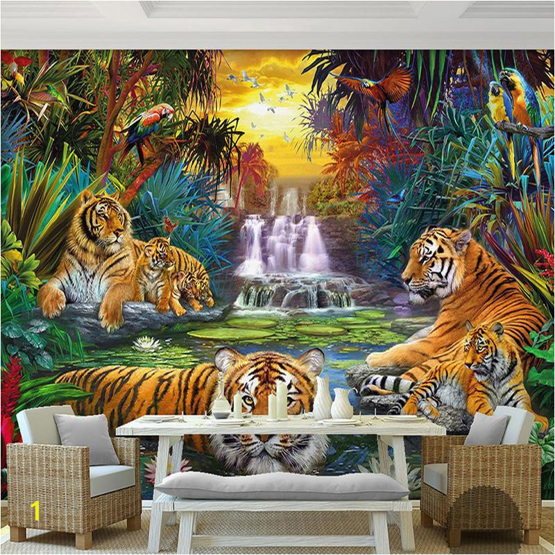Custom Wall Paper Original Forest Waterfall Tigers Animal 3D Mural Wallpaper For Living Room Bedroom Papel De Parede Mobile Wallpaper In Hd