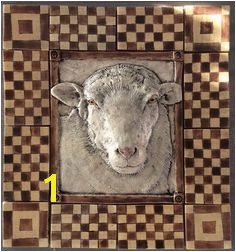 Handmade sheep tile with surrounding checkered tiles