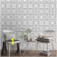 Wallpaper Oriental Tile Grey
