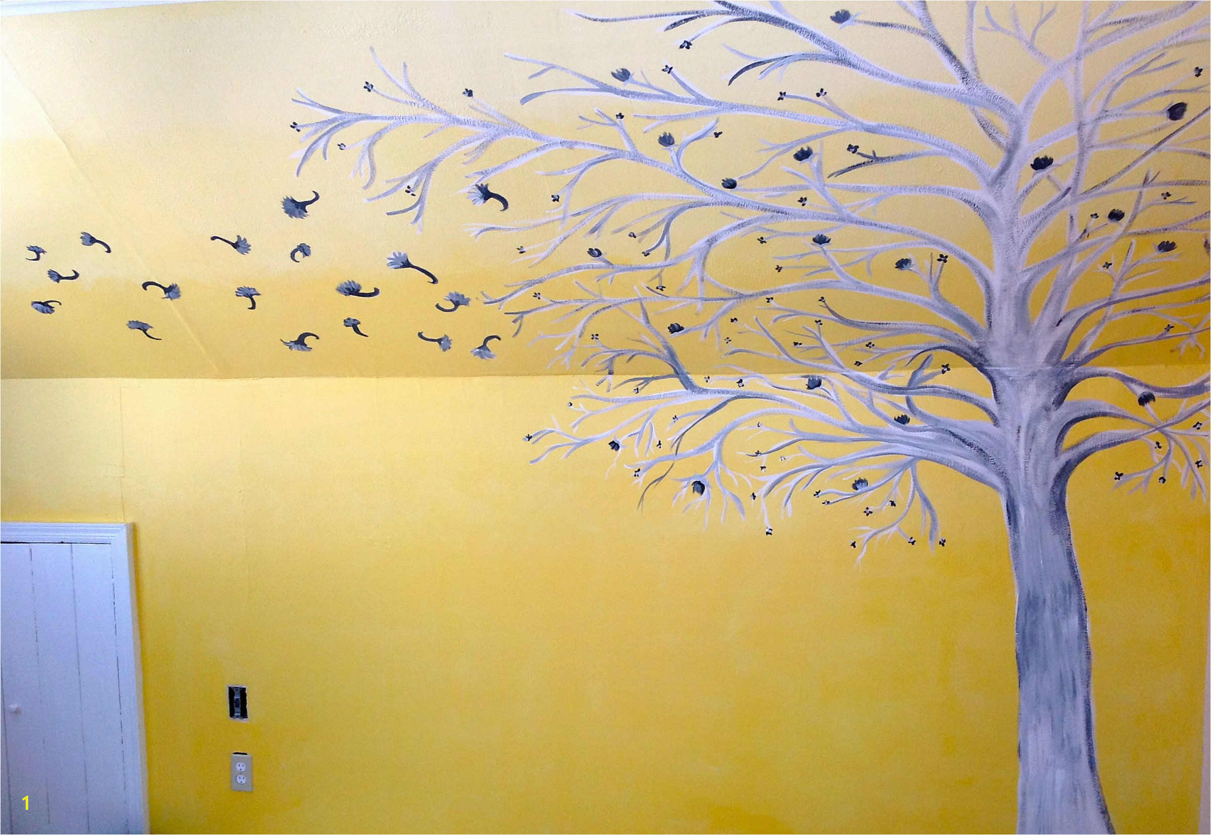 Ombre yellow white and grey painted Bedroom wall mural