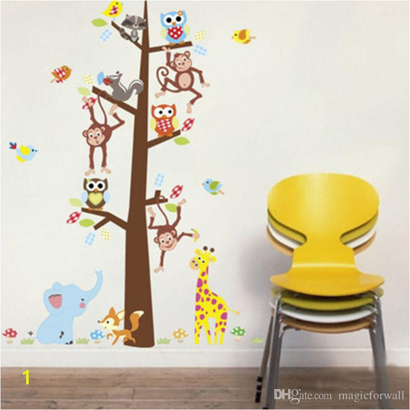 Cartoon Animals Monkey Giraffe Owls Squirrel Tree Wall Stickers Kids Room Nursery Decor Wall Mural Poster Art Living Room Wallpaper Flowers Wall