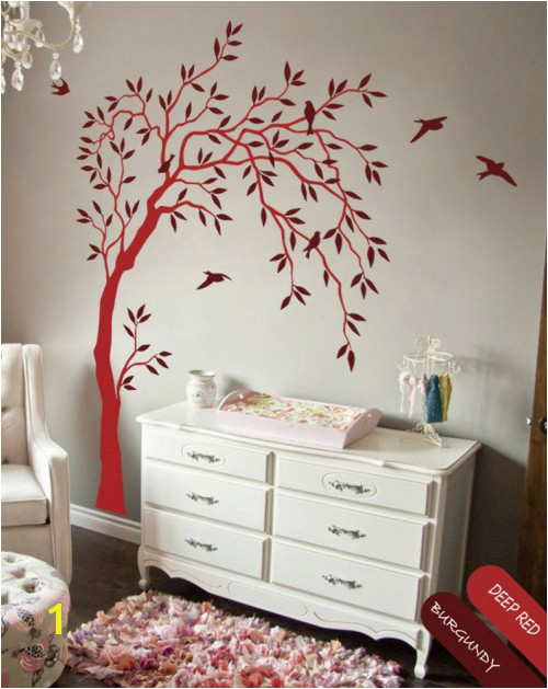 Willow Tree Mural Nursery Willow Tree Wall Decal Birds Wall Tree Sticker Mural Art