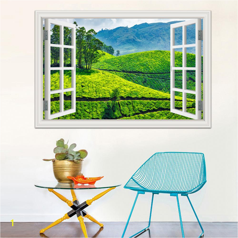 Window Cling Murals 3d Window Decal Wall Sticker Green Tea Garden Beautiful Landscape