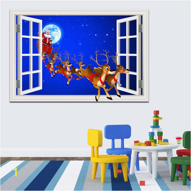 Cartoon Merry Christmas Sticker Window Scenery 3d Wallpaper Wall Decal Home Decor Living Room Murals Art Santa Claus Reindeer