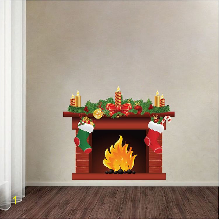 Christmas Fireplace Wall Decal Mural Living Room Wall Decal Murals Romantic Wall Decals Primedecals