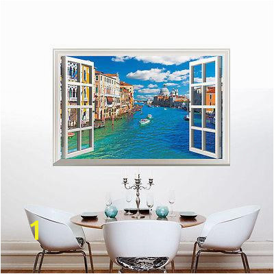 Fashion Venice of Italy 3D Window View Wall Stickers Mural Vinyl Decals Home Decor Wall Paper Stickers