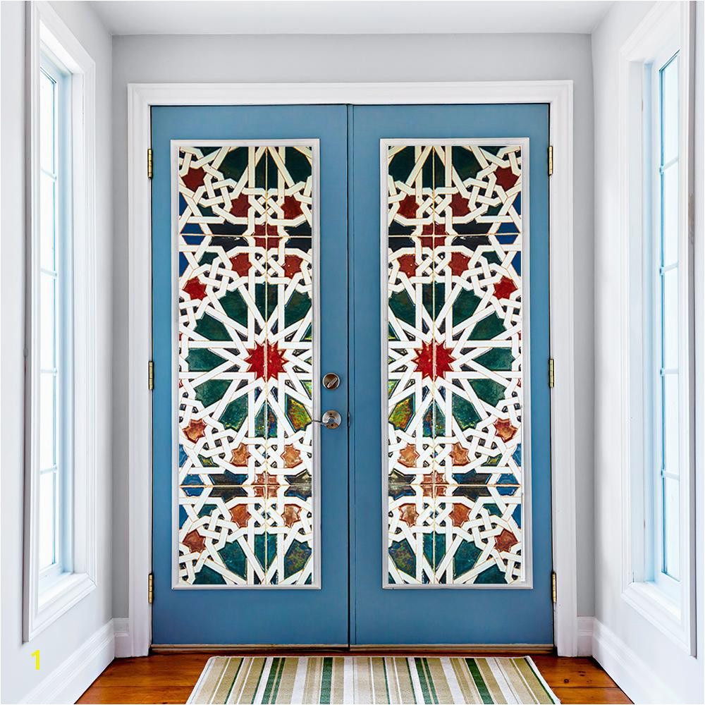 Kaleidoscope Color Vinyl Glass Wall Stickers 3D DIY Door Window Mural Home Decoration Waterproof Wallpaper Blue Pattern Door Decal Entire Wall Decals Fairy