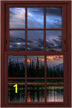 Fake window illusion poster Mountains and River View Window View Window Wall Fake