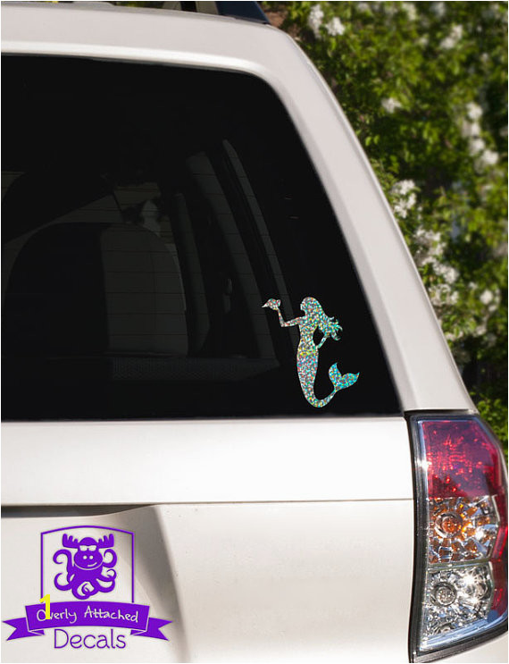 Mermaid with Seashell Car Window Decal