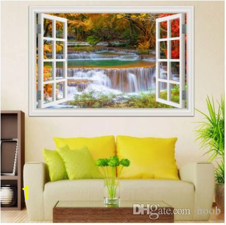 3D Window View Wall Sticker Decal Sticker Home Decor Living Room Nature Landscape Decal Waterfall Mural Wallpaper Wall Art Wall Decal Decor Wall Decal