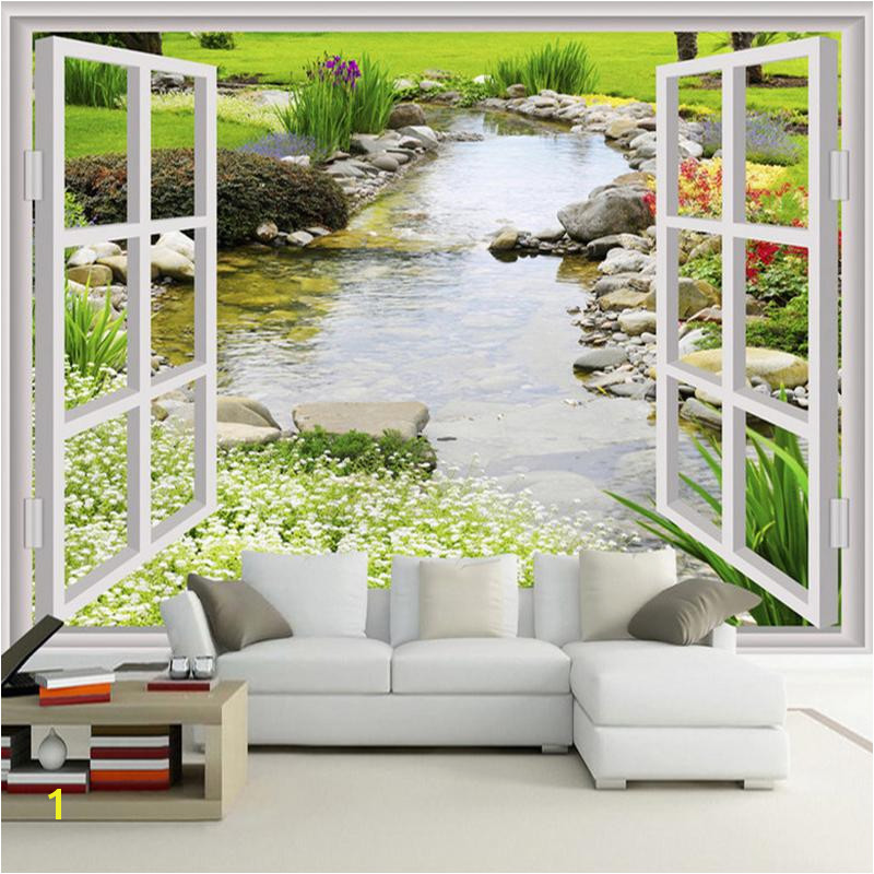 Custom Wall Mural Wallpaper Modern Simple 3D Window Garden Small River Flower Grass Fresco Living Room Bedroom Wall Paper Good Hd Wallpaper Good