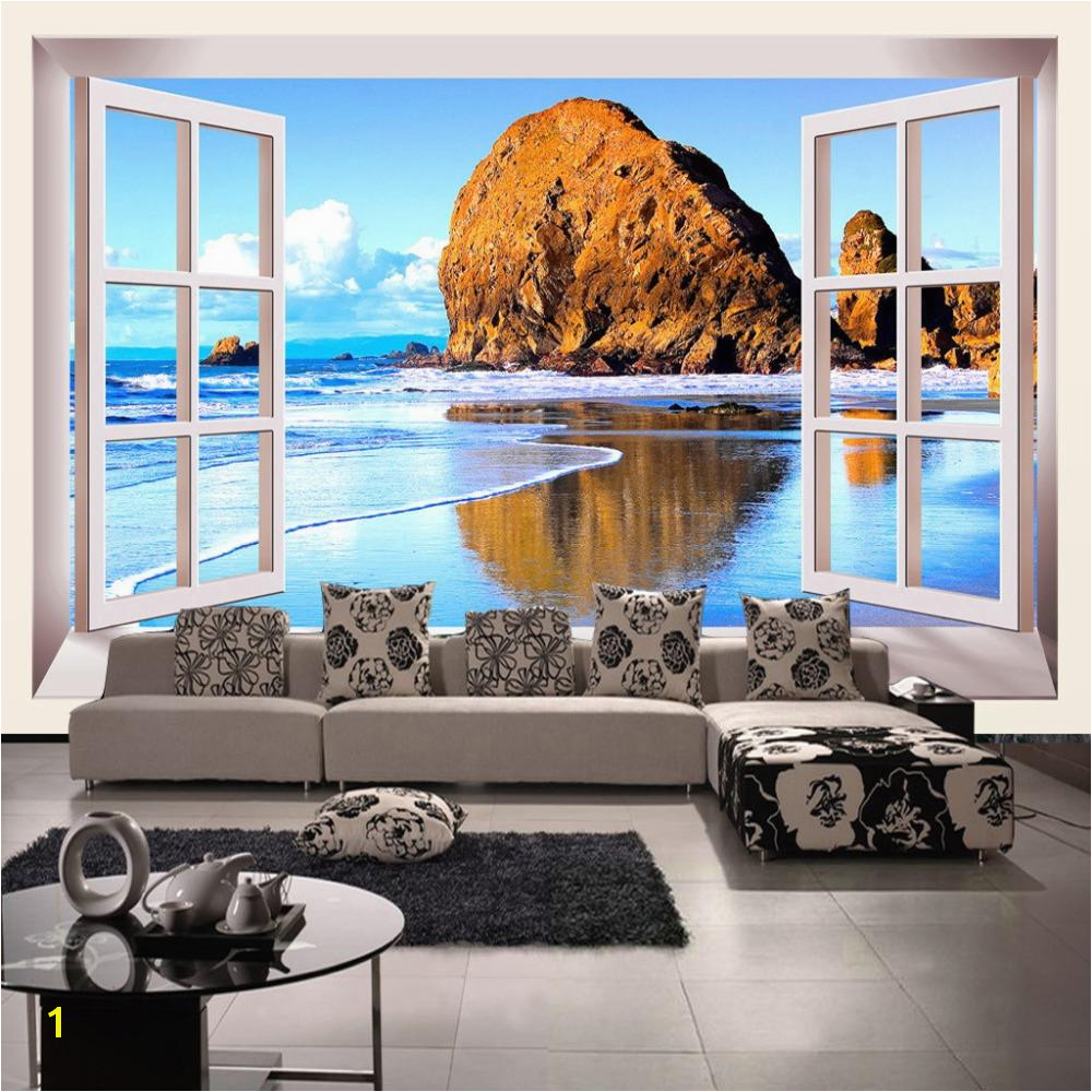 Custom Wallpaper 3D Stereoscopic Window Beach Scenery Living Room TV Background Wall Mural Print Wallpaper Papel Pintado Angelina Jolie Wallpaper