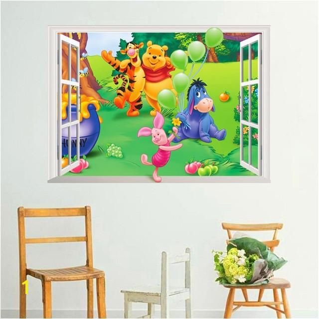 Winnie the Pooh Wall Murals Cartoon Winnie Pooh Fenster Wandaufkleber Für Kinderzimmer