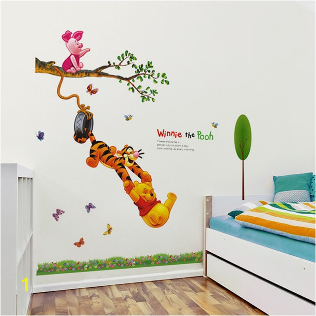 Animal cartoon Winnie The Pooh tree wall stickers for kids baby rooms boys girl home decor