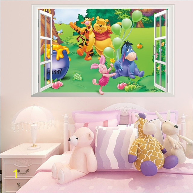 Cartoon 3D Window Winnie Pooh Bear Tiger Pig Wall Stickers For Kids Room Baby Nursery Home