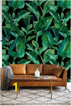 GREEN LEAVES pattern temporary wallpaper Green leaves wallpaper leaves wall mural