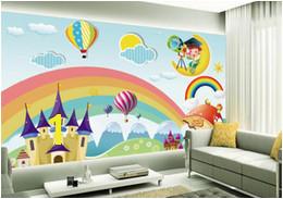 Custom Wallpaper Kids Room Mural Rainbow Castle Cartoon Backdrop Kids Room Mural wallpaper for walls papel de parede