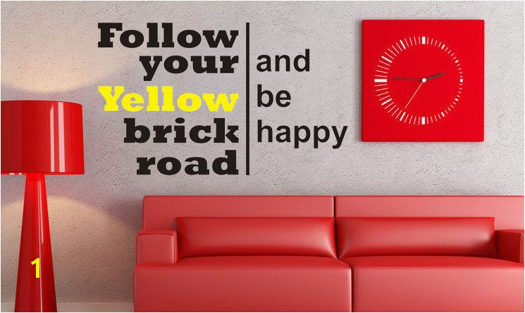 Follow your yellow brick road Wizard of Oz Art Wall Decals Wall Stickers Vinyl Decal Quote Room Decor $17 95 via Etsy