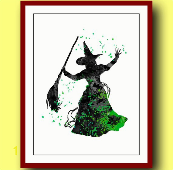 Wicked Witch Poster Watercolor Poster Disney Wizard of Oz Poster Wicked Witch Magic Art Print Wall