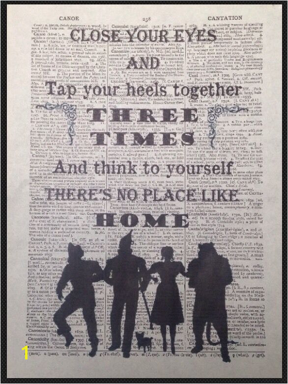 Wizard Of Oz Wall Murals Wizard Oz No Place Like Home Quote Vintage Dictionary Page Print