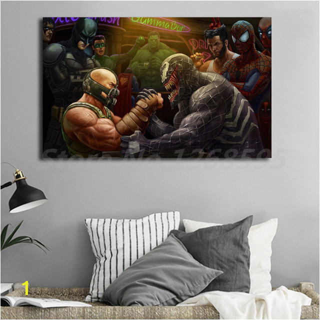 Venom Marvel Vs Bane DC In An Arm Wrestling Match Art Canvas Poster Painting Wall Picture Print Home Bedroom Decoration