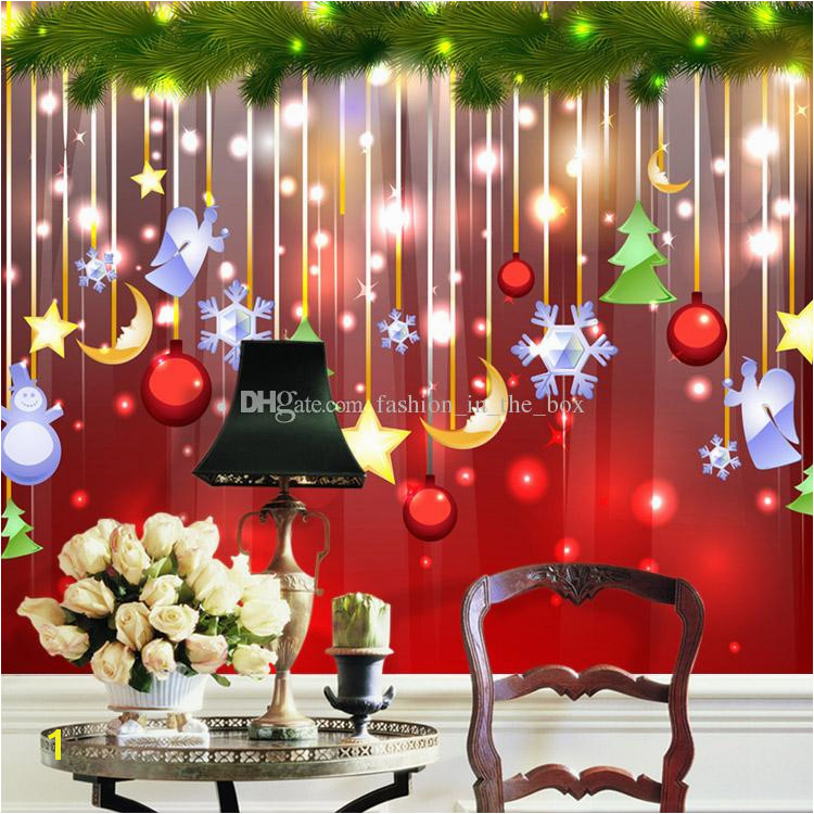 Christmas Decoration Wallpaper Lovely Wallpaper Custom 3D Mural Waterproof Silk Art Boys Kid Girl Bedroom Bar Room Decor Angle Snowman Free Wallpapers