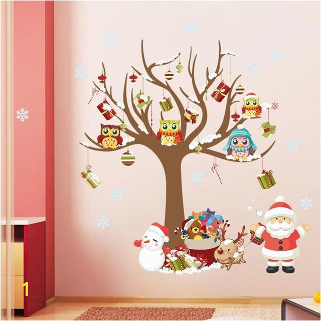christmas wall stickers room decor cartoon tree snowman Santa Claus Reindeer mural art home decals xmas posters 1222