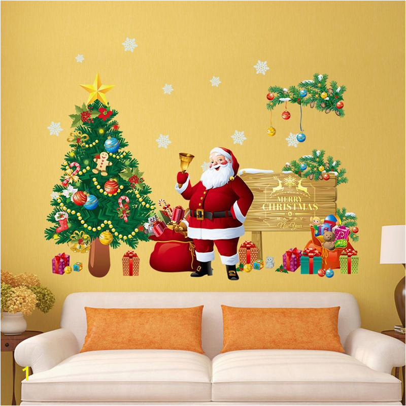 Christmas Tree Wall Stickers Santa Claus Gifts Sitting Room Bedroom Decoration Mural Art Decals in Wall Stickers from Home & Garden on Aliexpress