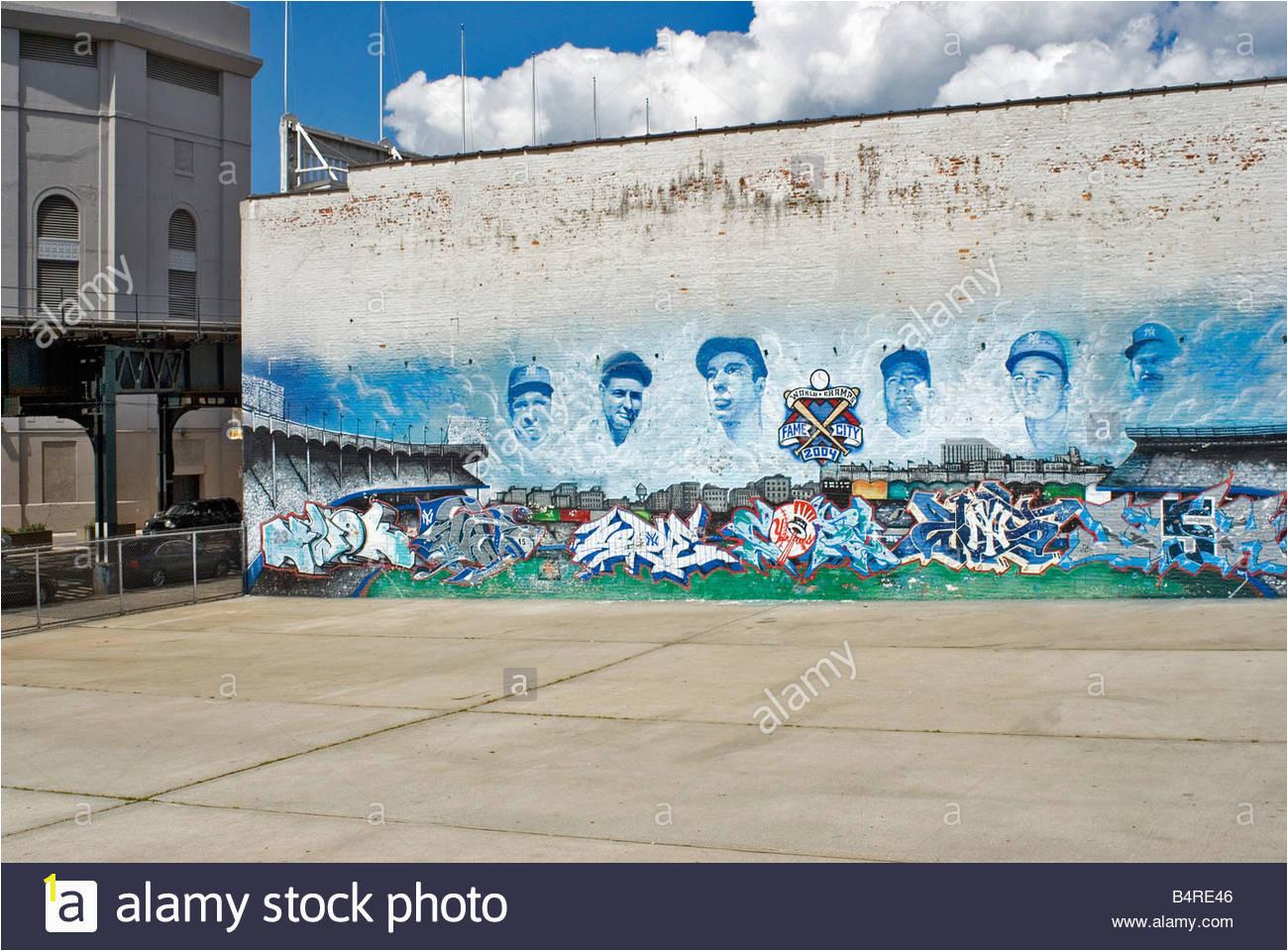 Beautiful Stock Wall Mural NY Yankee Legends Across From Yankee Stadium Bronx