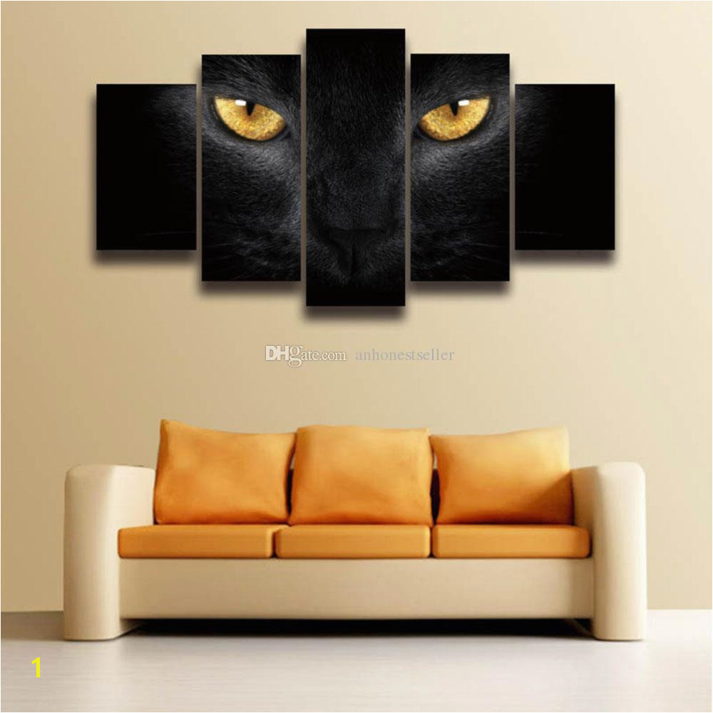 2019 5 Panel Canvas Wall Art Picture Cat Eyes Animal Painting Artwork Prints For Wall Art Home Decor Living Room Decorate House From Anhonestseller