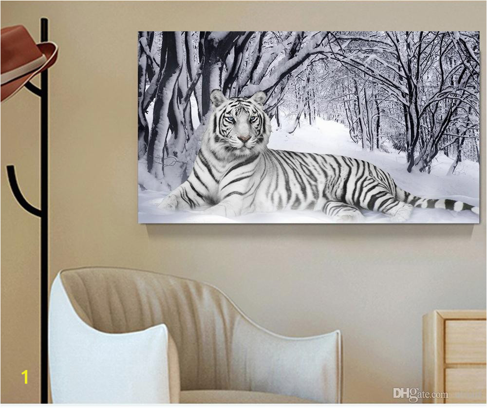 2019 White Tiger Landscape Print Canvas Painting Home Decor Canvas Wall Art Picture Digital Art Print For Living Room From Utoart $15 36