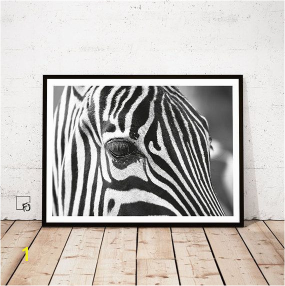 Zebra Print Zebra Wall Art Black White Decor by FroileinJuno
