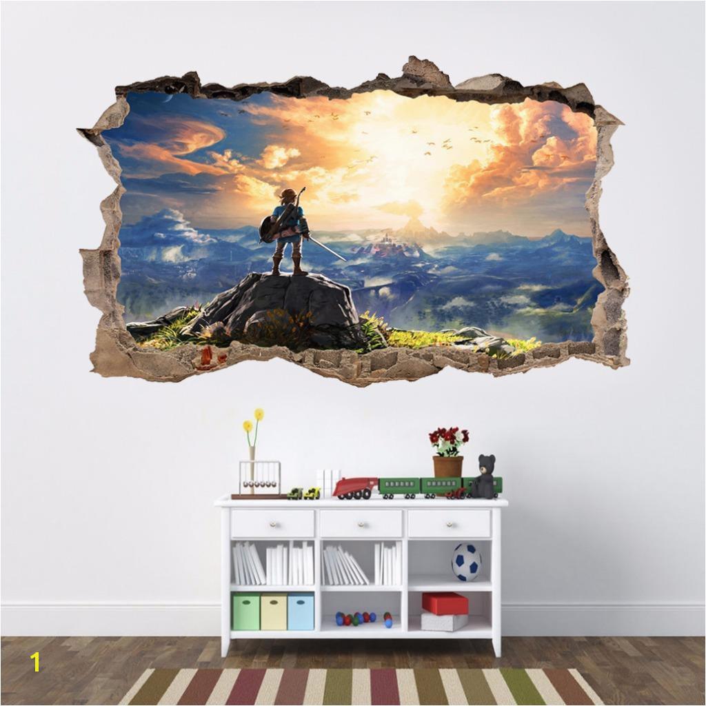 £6 99 GBP Link Legend Zelda 3D Smashed Wall Sticker Decal Home Decor Art Mural J590 ebay Home & Garden