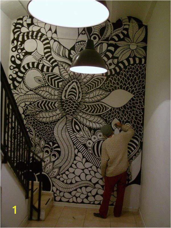 Zentangle Wall Mural Marianopadilla Mural Wall Painting Uni Posca On 19m² Wall