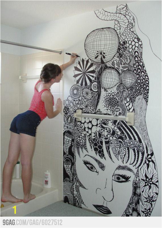 Zentangle Wall Mural Zentangle Art On Her Bathroom Walls Mi Casita Un Dia