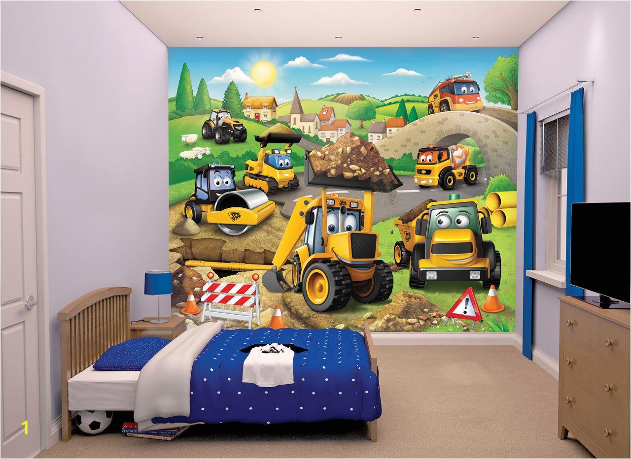 15 Foot Wall Mural My 1st Jcb Wallpaper Mural Jcb Diggers Nursery