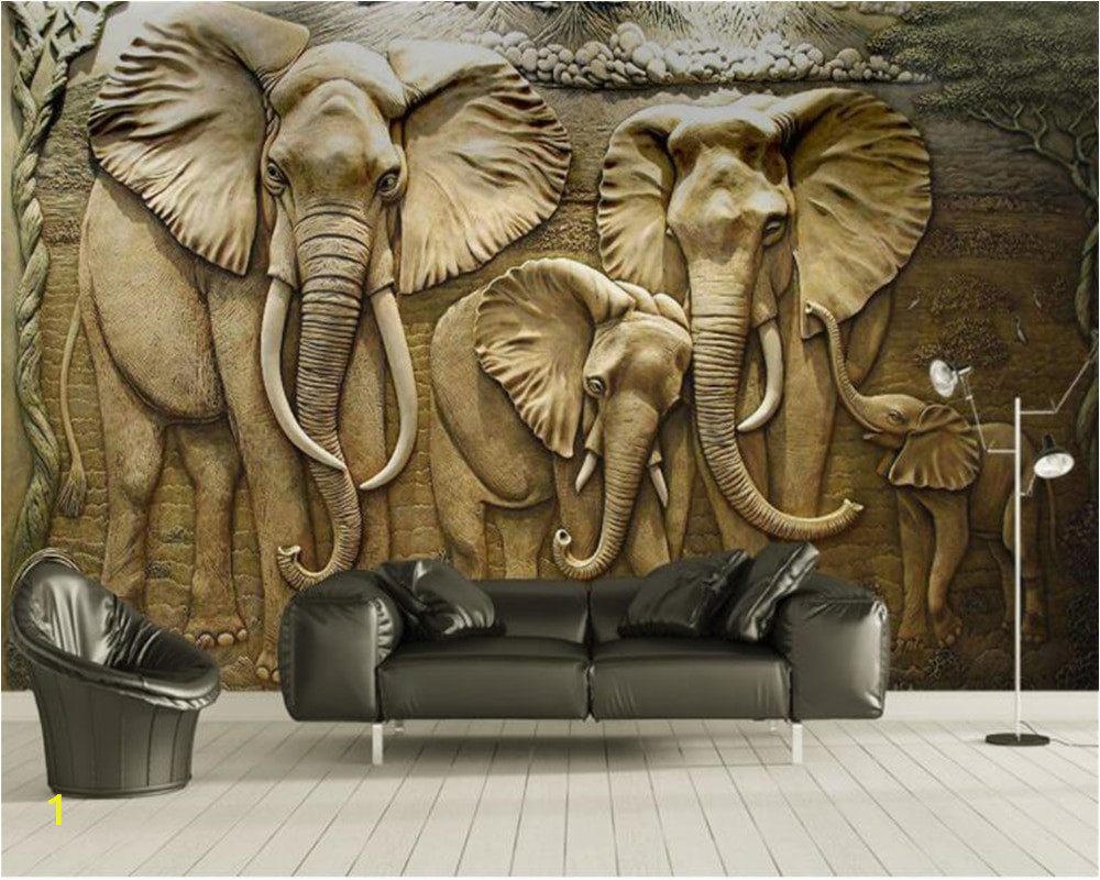 Beibehang Custom Wallpaper 3D Embossed Golden reliefs elephant Modern Abstract Art Wall Painting Living Room Bedroom