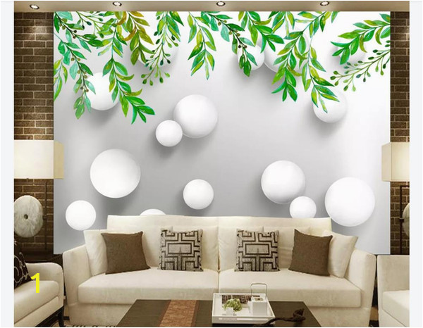 3d Photo Wall Murals Customized 3d Wallpaper Murals Wall Paper American Pastoral Hand Painted Green Leaf Ball White Ball 3d Bedroom Tv Background Wall Colorful