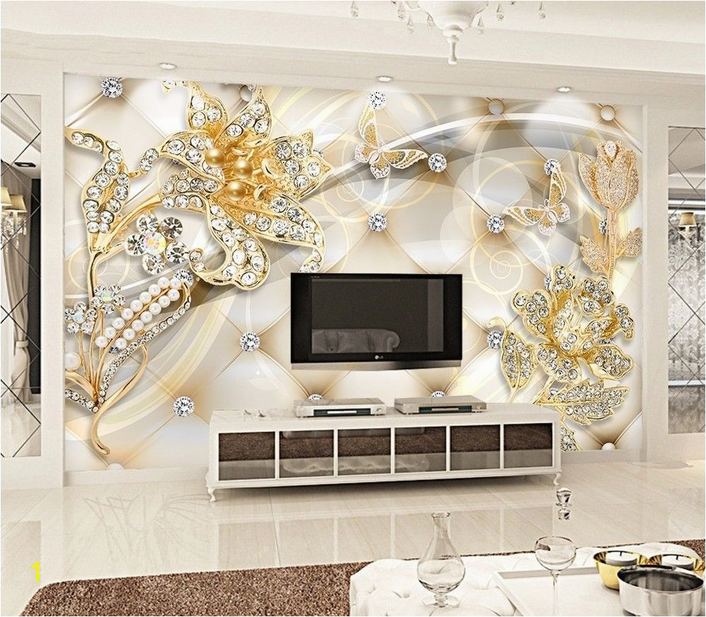 3d Photo Wall Murals Gold Swarovski Floral Wallpaper Mural