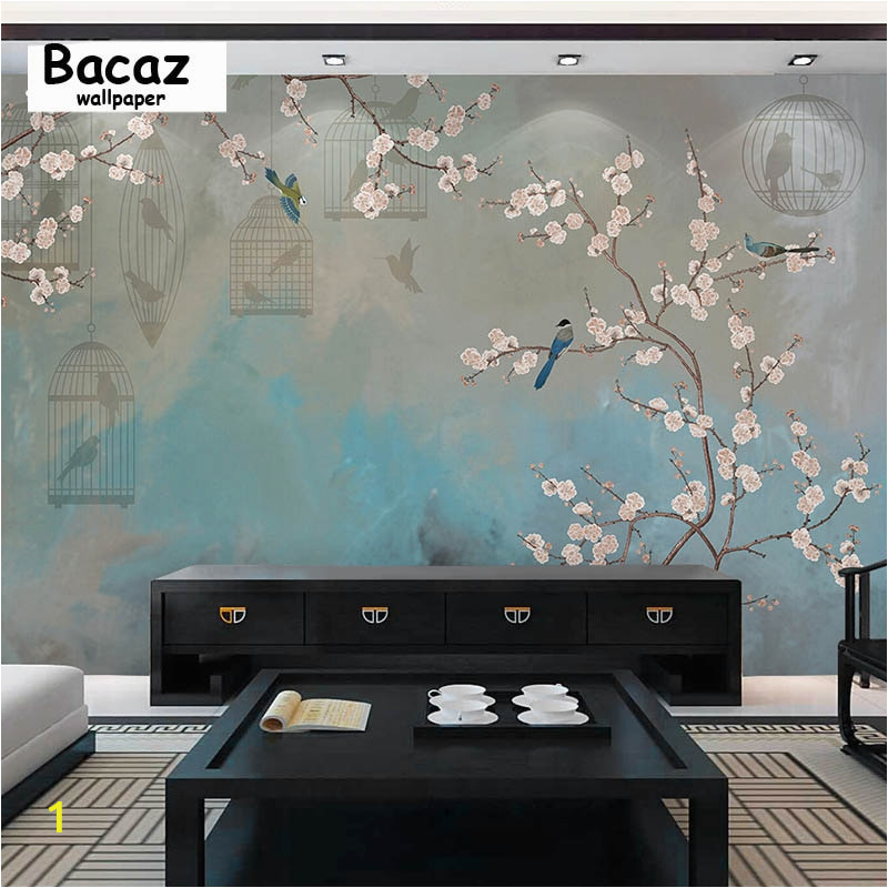 Bacaz Chinese Flower and Birds 3d Wallpaper Mural for Living Room Background Floor 3d Wall Mural