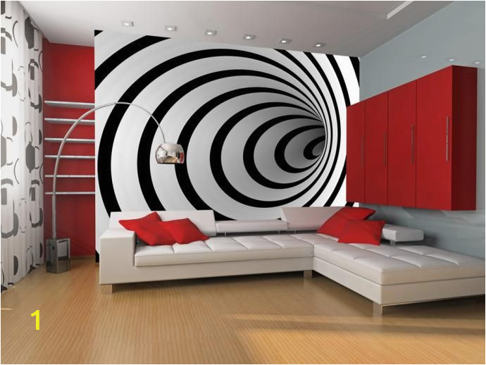 Abstract 3d Wall Murals Fototapeta Na Wymiar Czarno Biały Tunel 3d