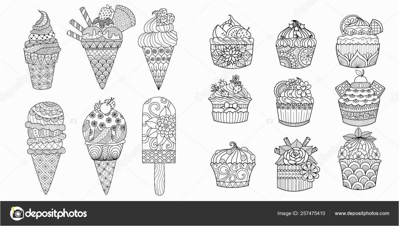 depositphotos stock illustration drawing ice cream cupcakes set