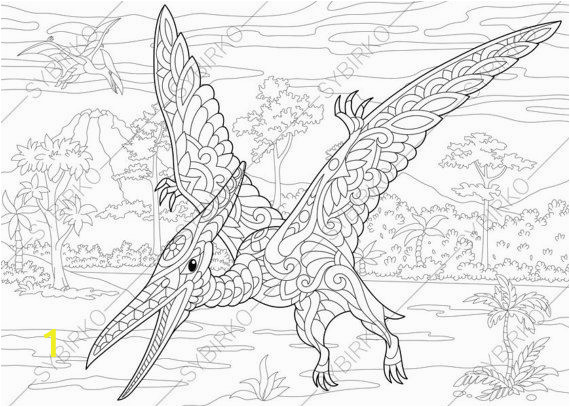 Adult Coloring Pages Dinosaur Pterodactyl Dinosaur Pterosaur Dino Coloring Pages Animal