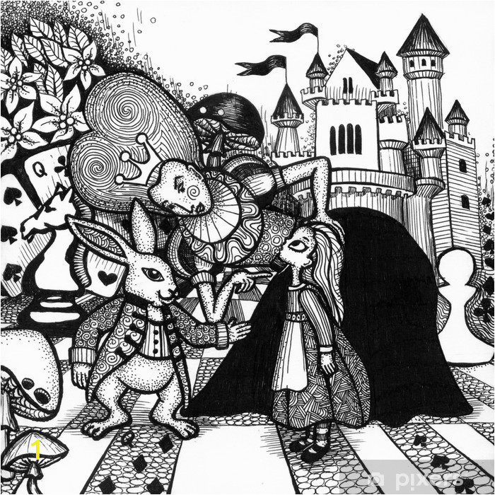 wall murals the alice in wonderland story hand drawn outline with texture isolated on the white background