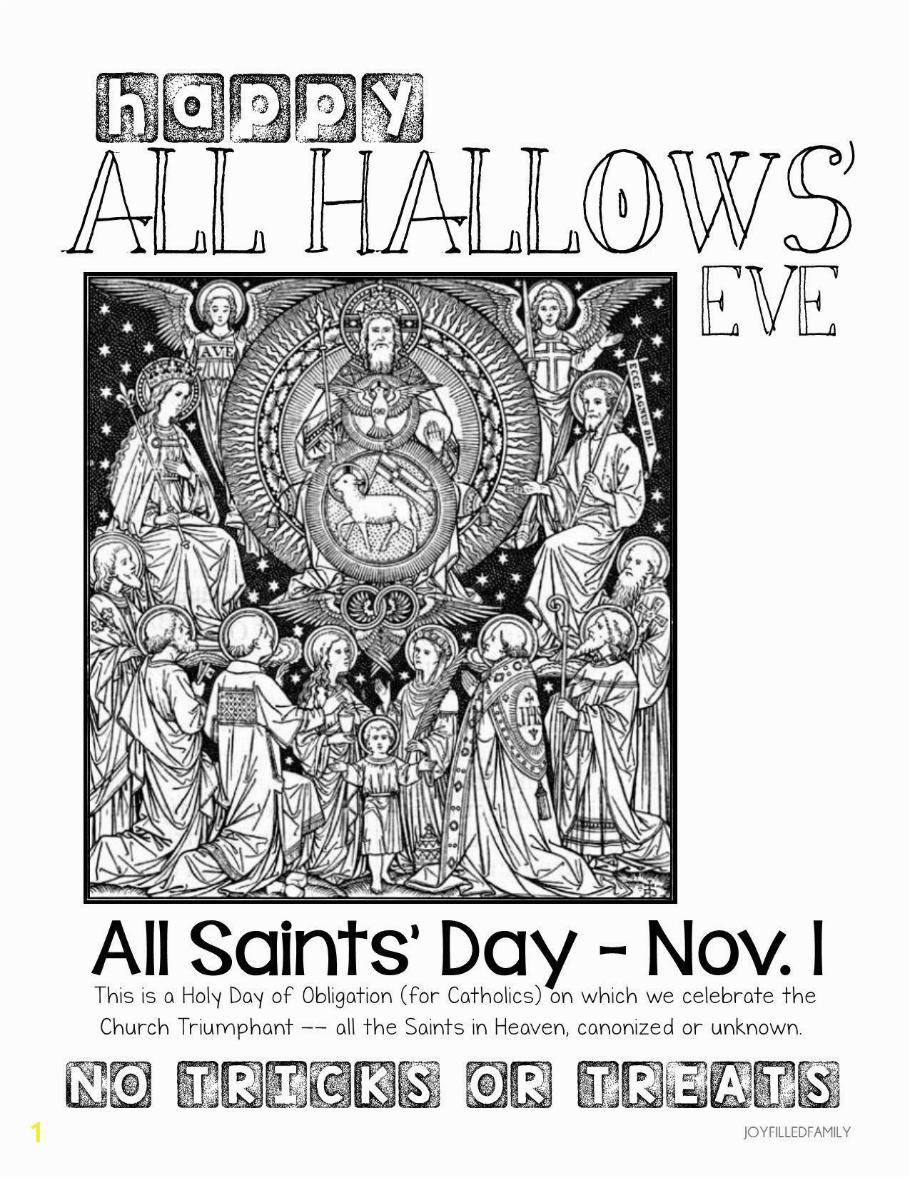 All Saints Day Coloring Pages for Kids Printable for All Hallows Eve All Saints Day Reminder