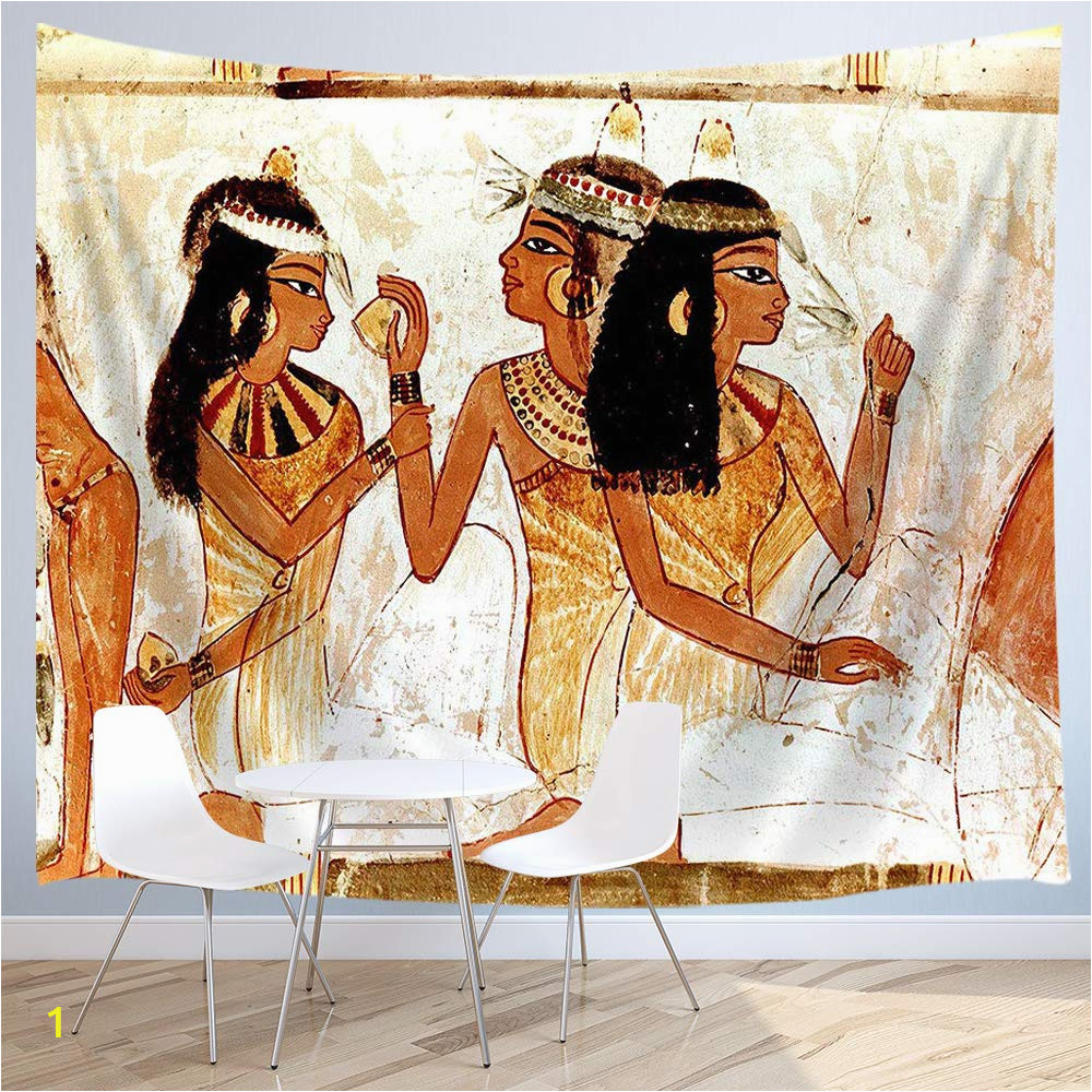 Ancient Egypt Murals Wall Jawo Egyptian Tapestry Wall Hanging Ancient Egyptian Papyrus Mural Woman Polyester Fabric Wall Tapestry for Home Living Room Bedroom Dorm Decor 80w