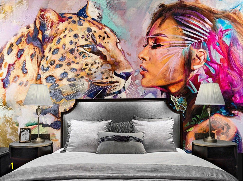 Animal Print Wall Murals Tiger Wallpaper Watercolor Woman Wall Mural Wild Life Wall
