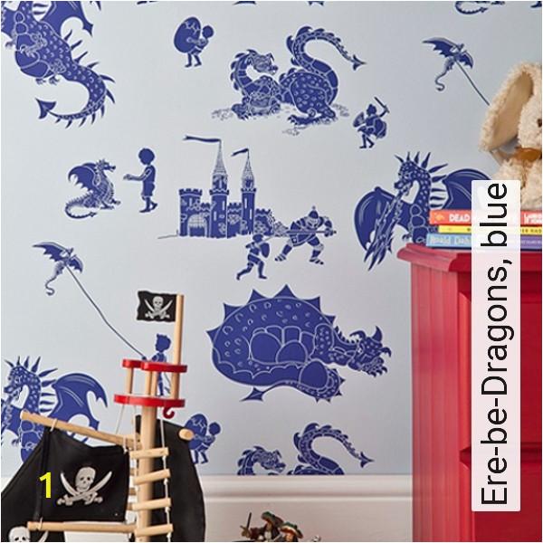 Bild Ere be Dragons blue Figuren Gebäude KinderTapeten Blau Hellblau Nummer