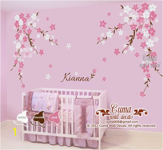 Baby Name Wall Murals Nursery Wall Decal Baby Girl and Name Wall Decals Flowers