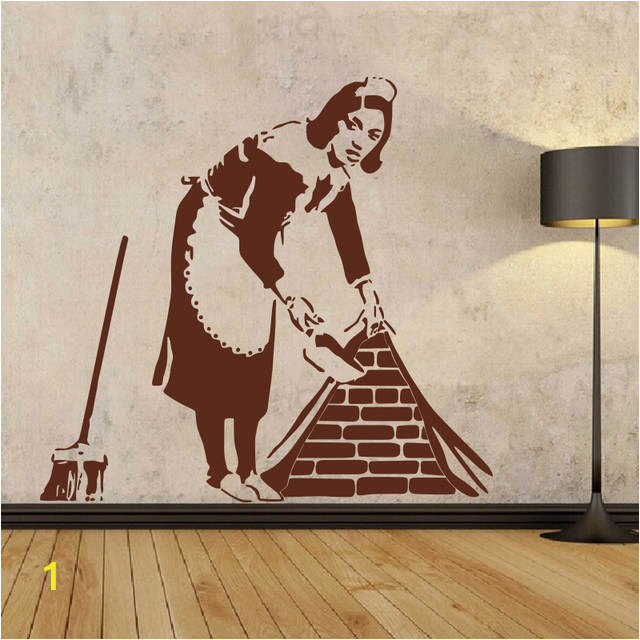 BANKSY Maid WALL STICKER Home Decor Street Art Vinyl Stencil Graffiti Cleaning Lady Decals house decoration 640x640q70